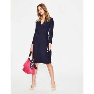 Boden Navy Blue Long Sleeve Jersey Wrap Dress